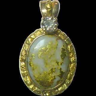 Vintage Gold Quartz and Natural Gold Nugget & Diamond Pendant
