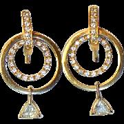 Vintage Diamond Hoop 14K Gold Earrings