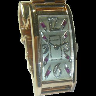 A Fine Longines 14K Solid Rose Gold Retro Wristwatch