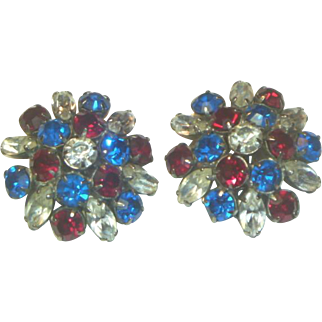 Vintage Patriotic Rhinestone Earrings