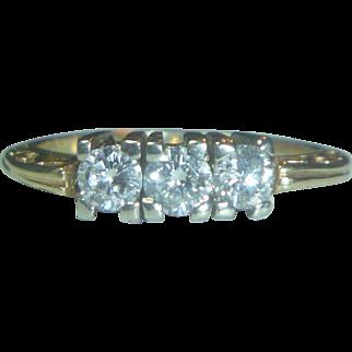 Vintage Art Deco 3-Stone Diamond  Filigree 14K Bi-color Ring