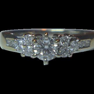 Vintage 14 K White Gold Diamond Ring