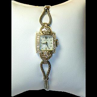 Vintage Lady Hamilton 14 K White Gold & Diamond 22 Jewel Wristwatch
