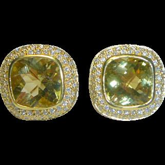 Vintage 18 K Gold  Citrine & Diamond Earrings