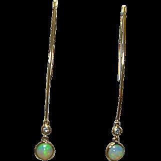 Vintage Opal, Diamond & 18K Gold Earrings