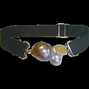 Large Baroque Cultured Pearl Grosgrain Bracelet