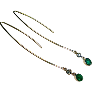 Emerald, Diamond & 14 Gold Earrings