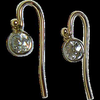 Mine Cut 1 Ct.  Diamond Gold  Earrings