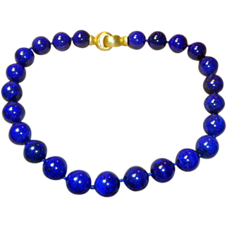 Dramatic 16 mm Large Natural Lapis Necklace