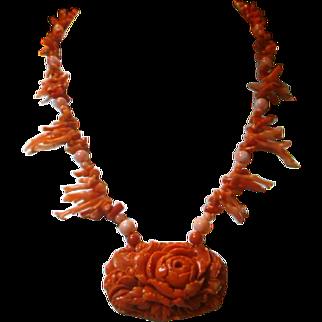 Vintage Natural Coral & Celluloid Pendant/Necklace