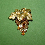 Vintage Napier Rhinestone Grape Cluster Pin