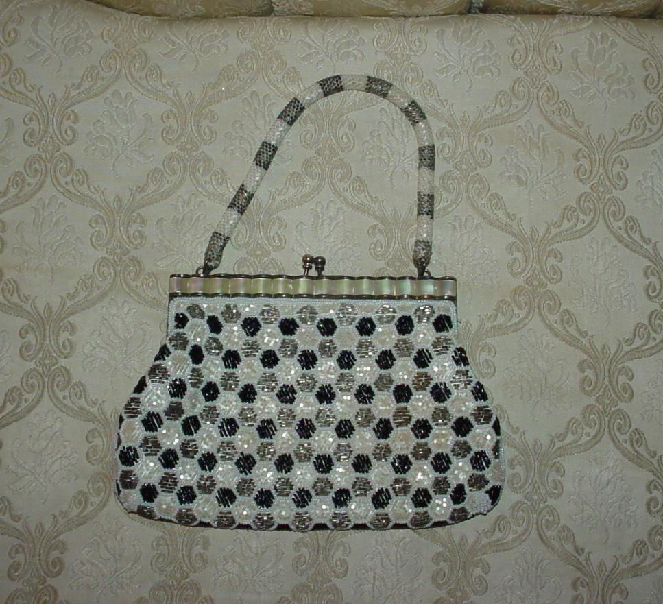 Vintage Black and White Beaded Purse : Gingerbread Farm Antiques ...