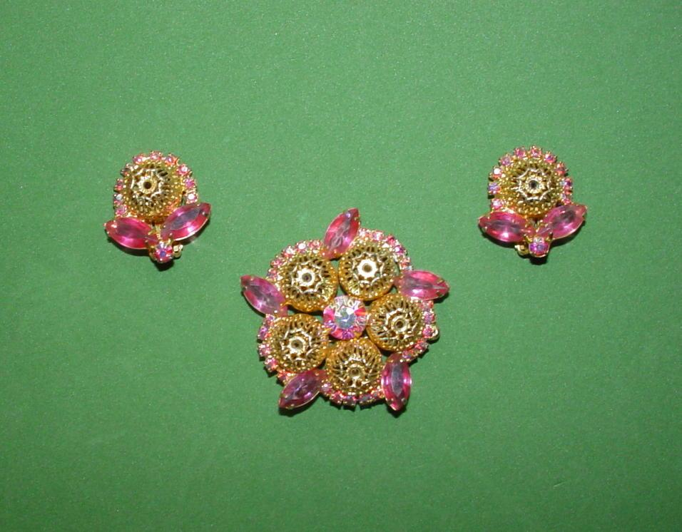 Pretty in Pink - Brooch and Earrings