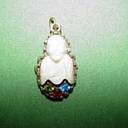 Vintage Jeweled Buddha Charm or Pendant