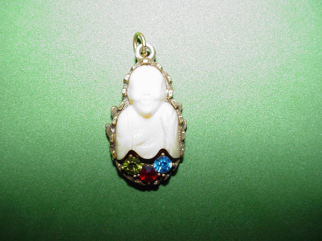 Vintage Jeweled Buddha Charm or Pendant