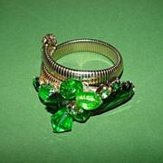 Green Rhinestone Wrap Bracelet