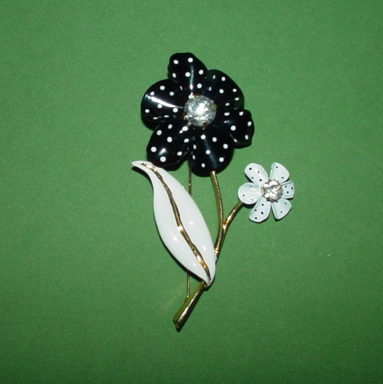 Avon Black and White Floral Brooch