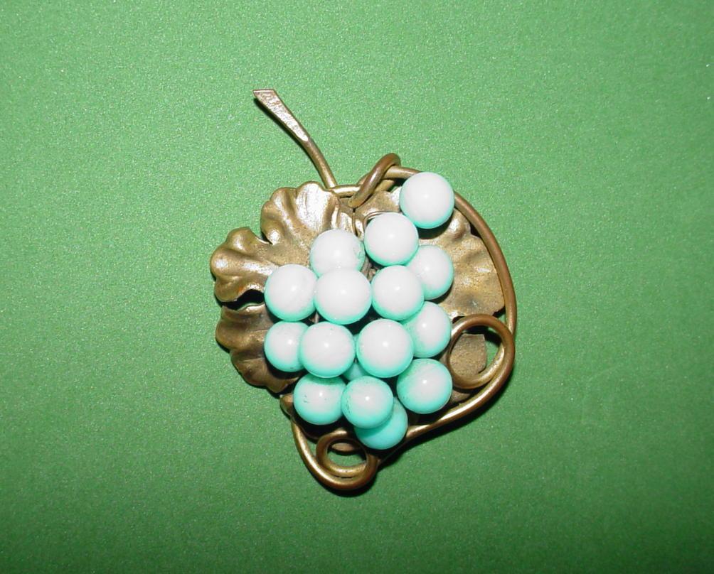 Luscious Turquoise Grape Brooch!