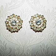 Classic Hobe Smoke and Jonquil Rhinestone Earrings