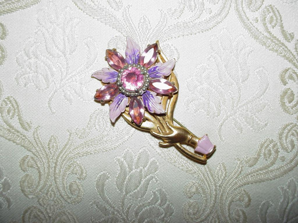Purple Flower Hand Brooch