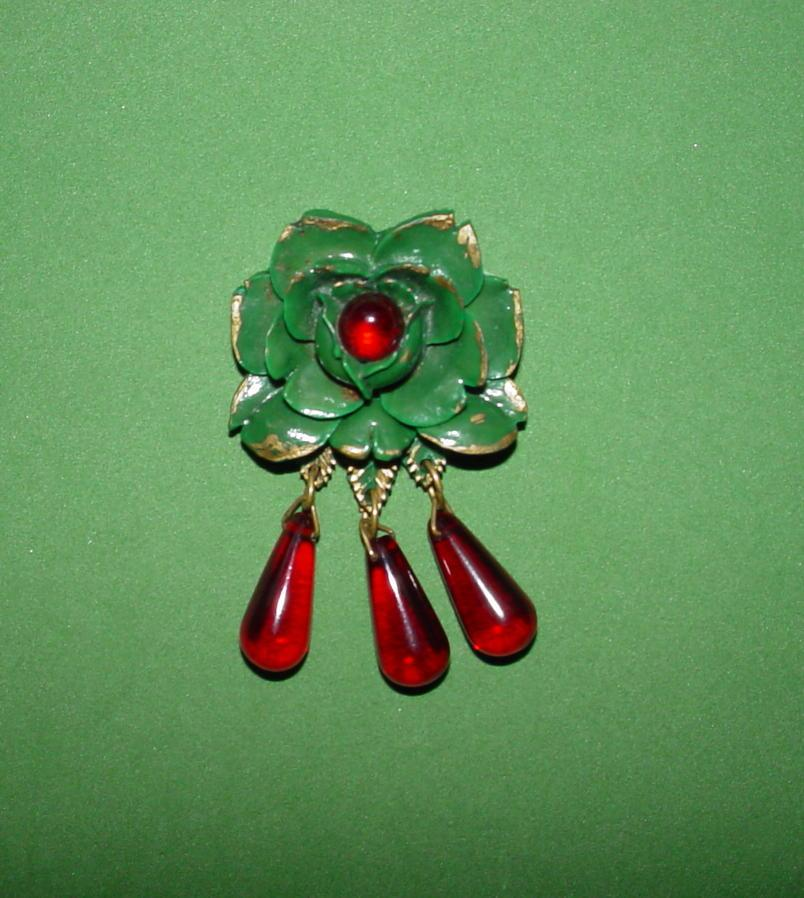 Vintage Rose Pin with Dangles