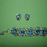 Huge Blue Chunky Rhinestone Bracelet Set!!