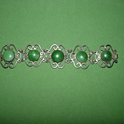 Wonderful Vintage Mexican Bracelet with Green Stones!