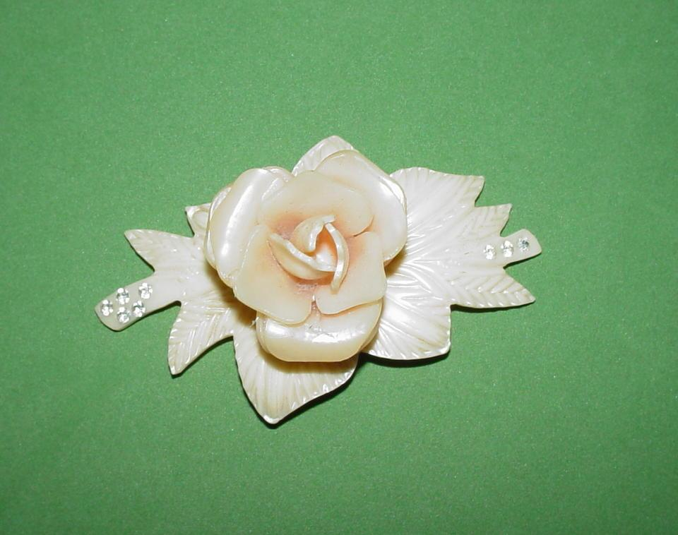 Vintage Carved Flower Brooch