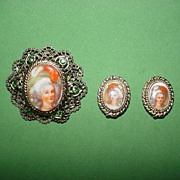 Portrait Pin and Earrings