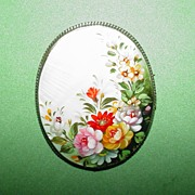 Vintage Shell Brooch with Floral Design