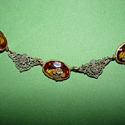 Lovely Czech Amber Necklace with Roses