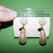 Miriam Haskell Baroque Faux Pearl Earrings
