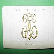 Dutch Goldtone Monogram Brooch