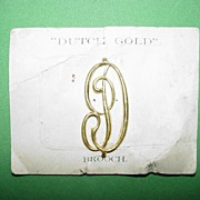 Dutch Goldtone Monogram Brooch