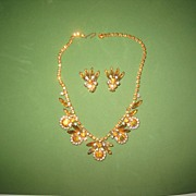 Amber Rhinestone Floral  Necklace and Earring Set