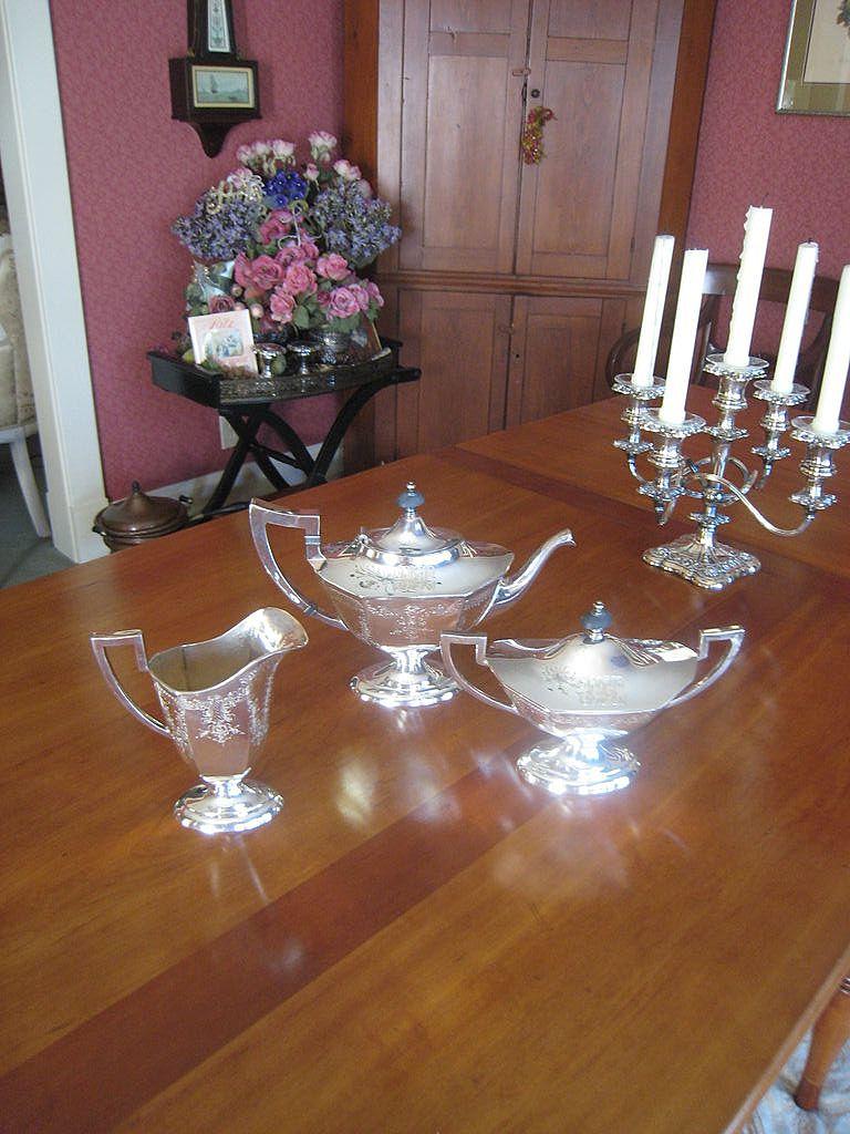 Three Piece Tea Set with Ornate Monogram