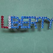 "Vintage Rhinestone ""Liberty"" Buckle"