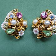 ART Signed Floral Earrings