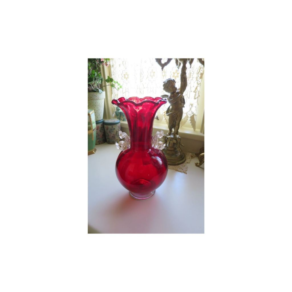 Large Ruby Red Venetian Vase with Dolphins