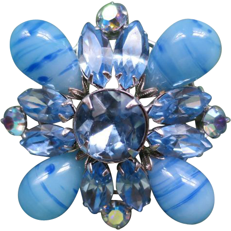 Blue Regency Art Glass Brooch