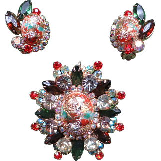 Juliana Easter Egg Brooch and Earrings