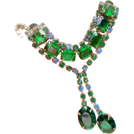 Vintage Green and Blue  Rhinestone Necklace