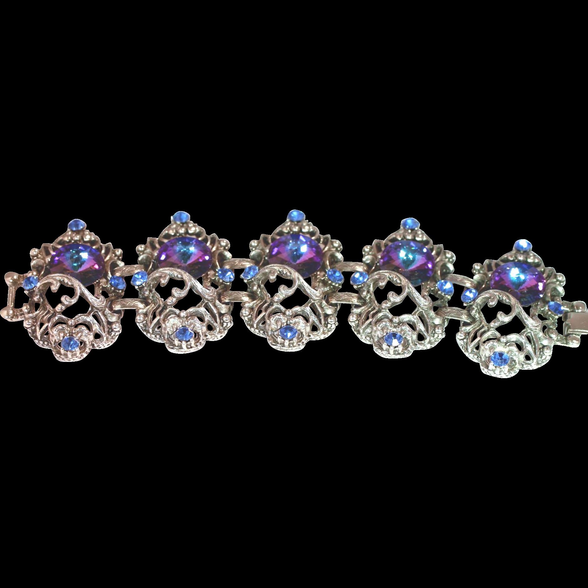 Vintage Purple & Blue Rivoli Chunky Bracelet - Nice!!