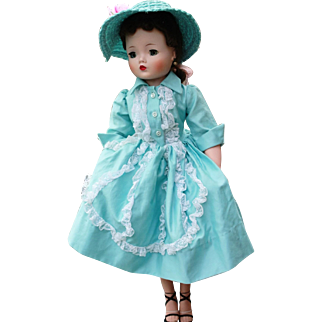 Madame Alexander Vintage Aqua Day Dress 1957 - EVC!!