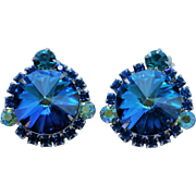 Vintage Juliana D & E Dark Blue Rivoli Earrings - EVC!!