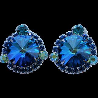 Vintage Juliana D & E Dark Blue Rivoli Earrings - EVC!!