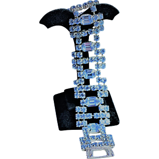 Blue Rhinestone Bracelet Signed Kramer of New York - EVC!!