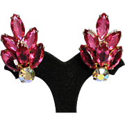 High End Vintage Pink Rhinestone Earrings - EVC!!