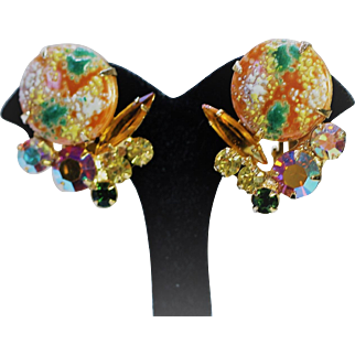 Vintage Juliana Easter Egg & Rhinestone Earrings - EVC!!