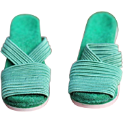 Madame Alexander Vintage Cissy Doll Green Strappy Shoes - EVC!!